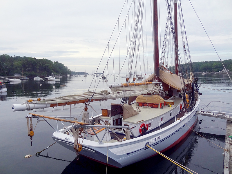 One of the windjammer in Maine at dawn, Rockport Harbor