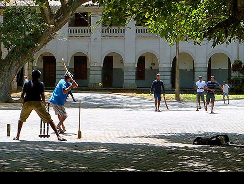 An impromptu cricket match