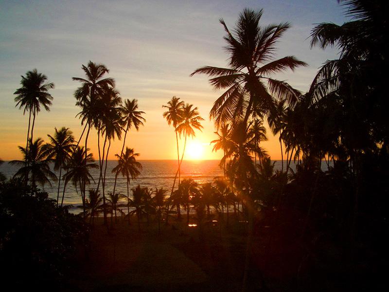 a sunset seen at a yoga retreat in Sri Lanka