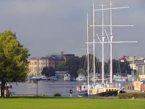 The harbor behind the Vasa Museum in Stockholm