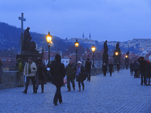The Charles Bridge on a winter evening in Prague