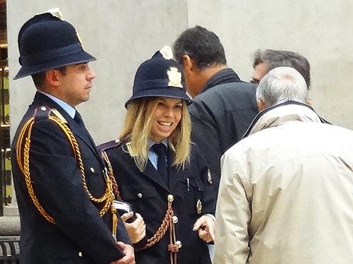 Police patrol in the Vittorio Emanuele II Galleria in Milan