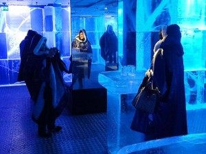 people in the ice bar