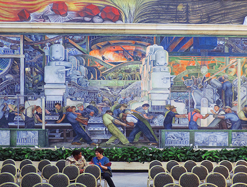 North Wall of the Diego Rivera mural in the Detroit Institute of Art