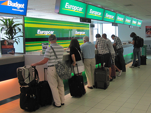 a European car rental counter