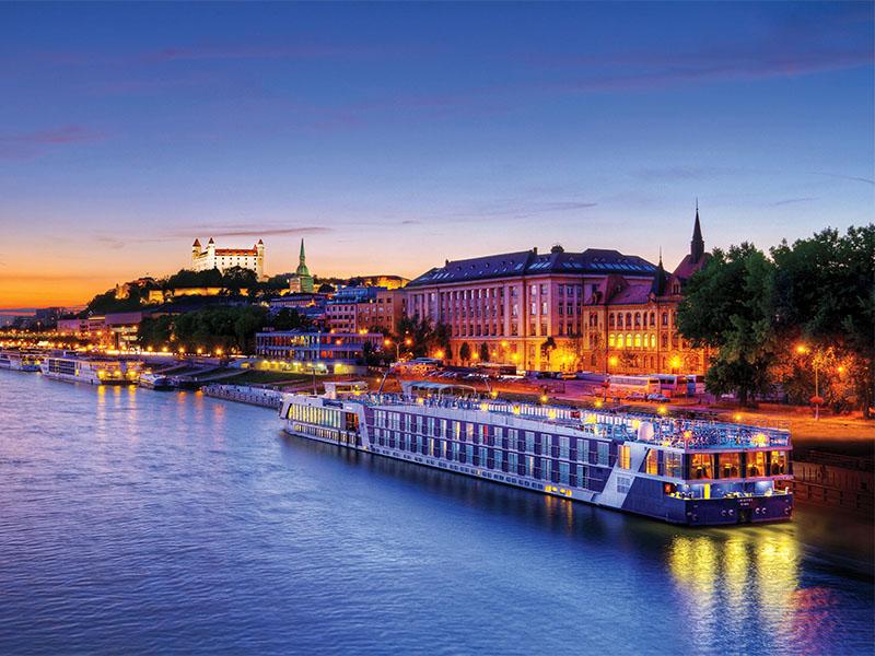 a river cruise ship in a European city