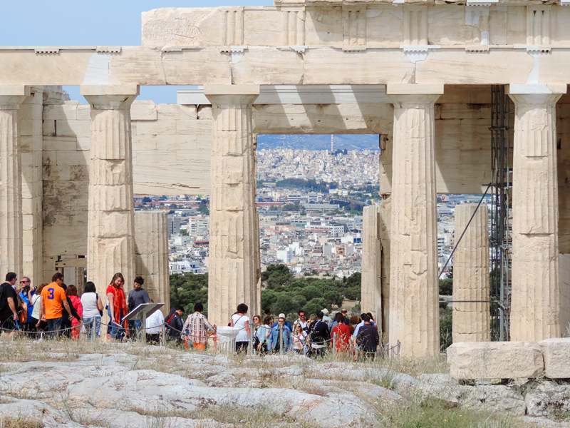 people at the ruins of the Acropolis