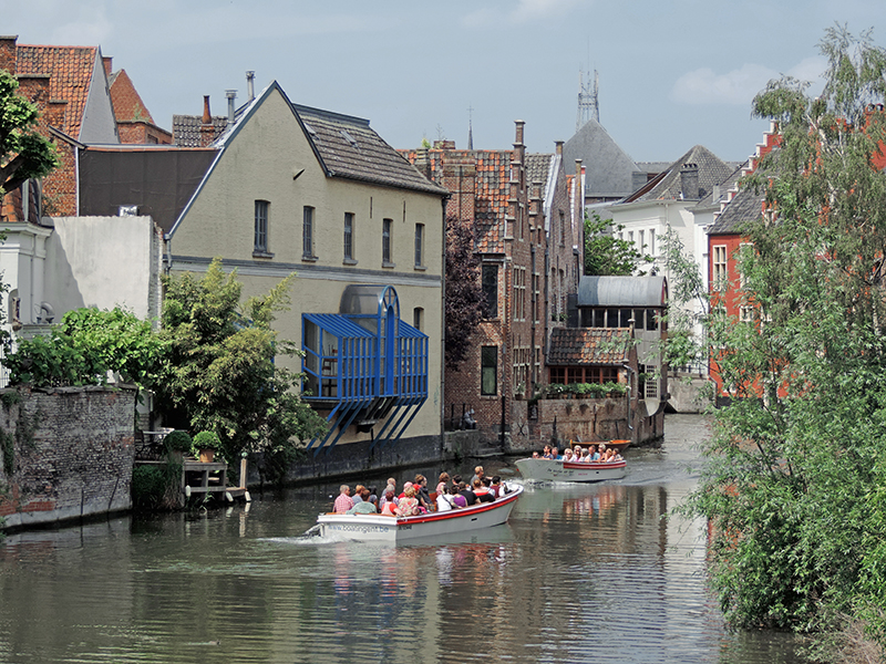 tour boats on a canal in Ghent