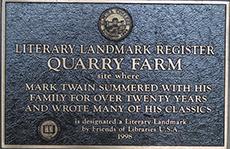 National Historic Landmark plaque at Quarry Farm in New York