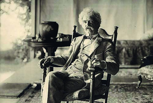 Mark Twain in Elmira on the porch at Quarry Farm / photo: Elmira College