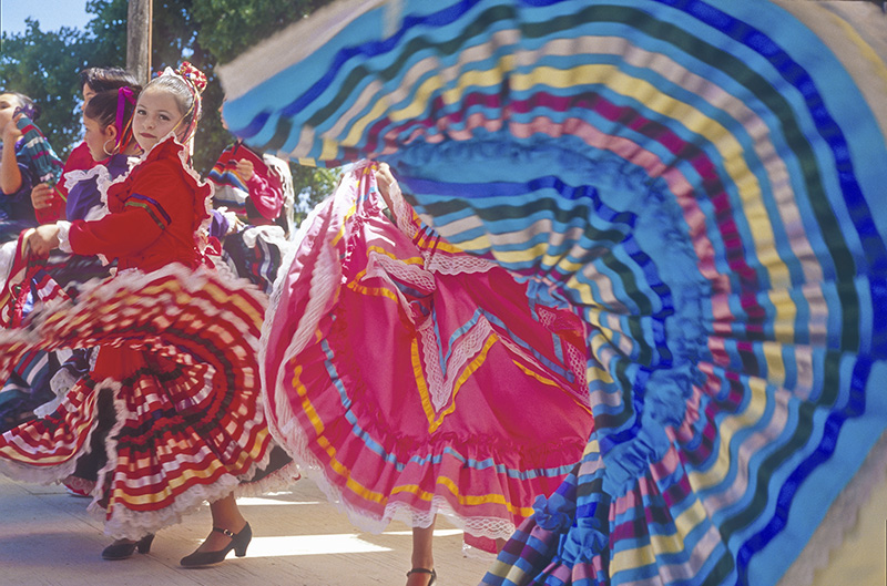 dancers in colorful skirts in Santa Fe, New Mexico