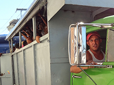 A truck bus on the outskirts of Santiago de Cuba