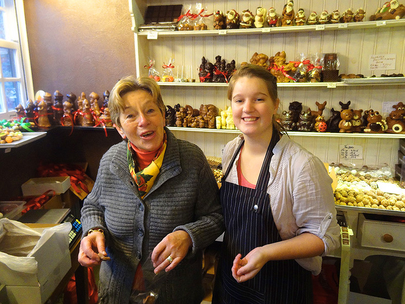 two women in a chocolate shop