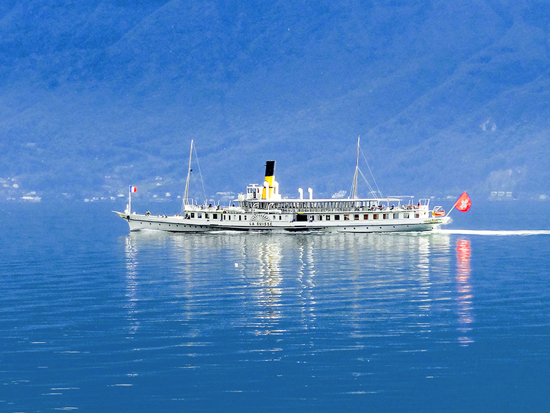 an old steamship on a day trip from Geneva on Lake Geneva