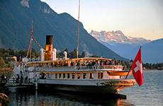A ferry dockside on Lake Geneva, Swtizerland, seen on a day trip from geneva