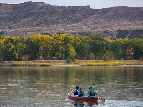 people in a canoe near Fort Benton MT