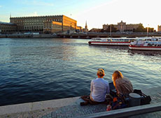 The Royal Palace at sunset in Stockholm