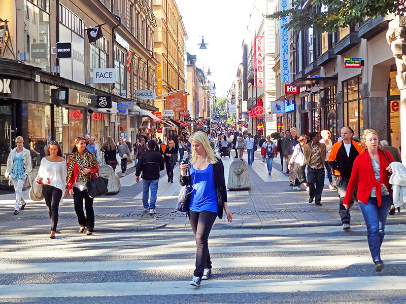 shoppers on Kungsgatan Street, visited during three days in Stockholm