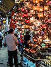 lamps hanging in the Grand Bazaar, Istanbul among my memorable travel experiences