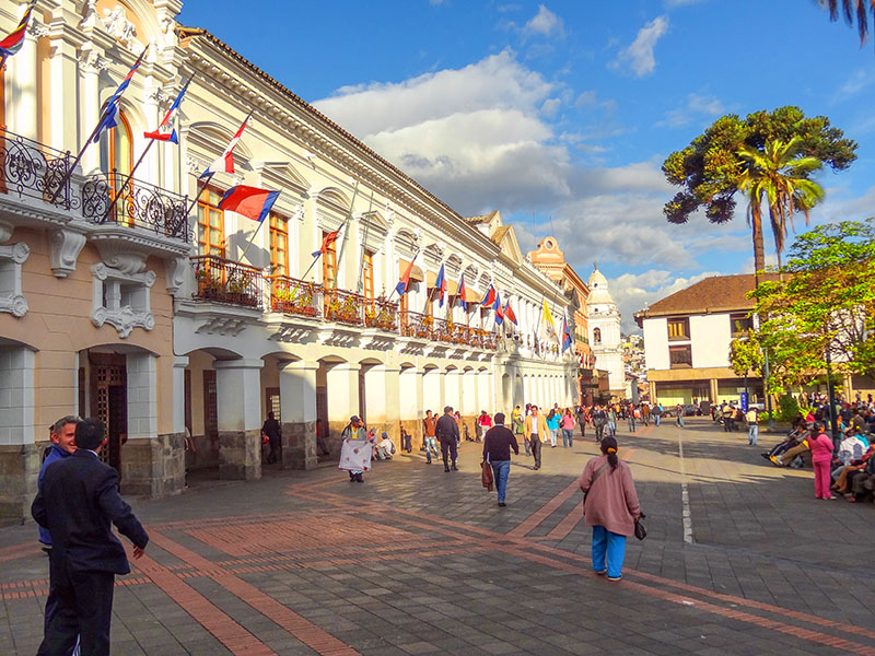 people wwaling in a square in Ecuador