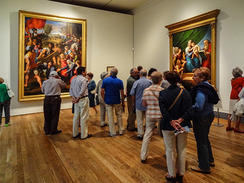 Crowd in gallery, Prado Museum, Madrid, Spain, one of the to free things to do in Europe