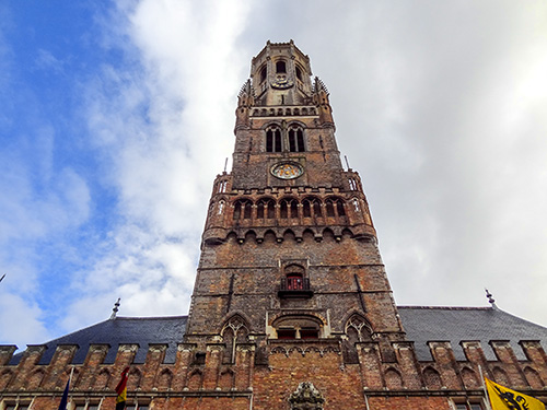 tall brick tower -- the Belfry in the city, one of the things to do in Bruges
