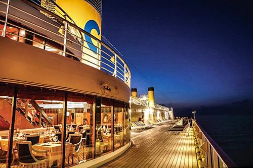 deck of the Costa Mediterranea at night