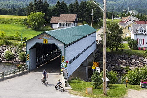 a covered bridge seen en route to the Saguenay Fjord
