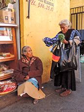 Two Indian women speaking in Oaxaca
