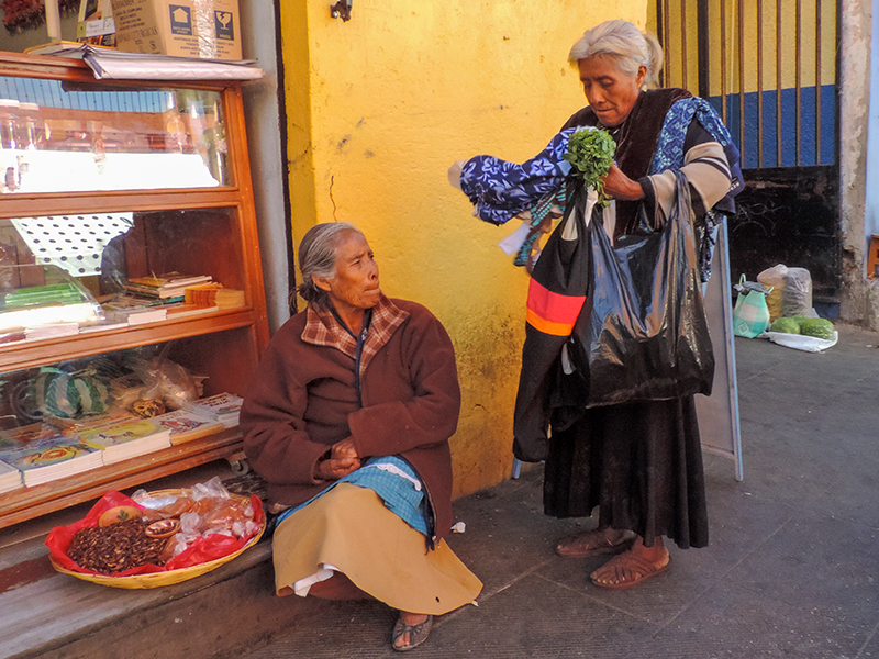 woman buying things from a street vendor, one of the things to do in Oaxaca