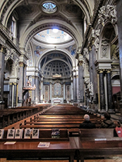 The ornate interior of an old church in London