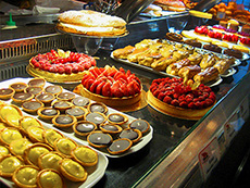 Pasteries in a shop