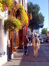 people walking past flowerboxes on a street