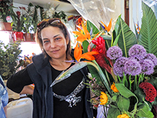 woman selling flowers in Budapest