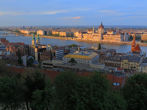 Viewing the Parliament from Fishermens Bastion at sunset, one of the best things to do in Budapest