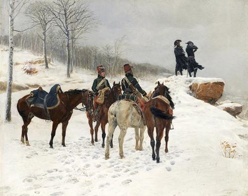 paining of men on horseback in the snow