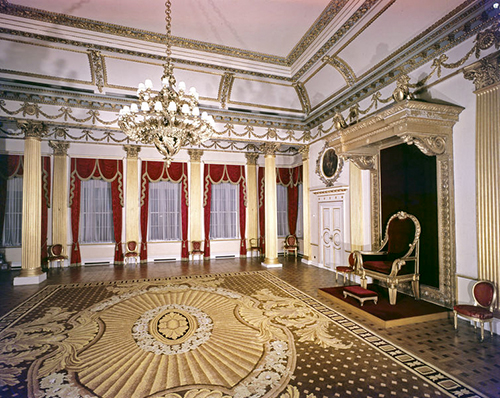 the throne room in an old castle