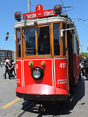 an old red trolley car