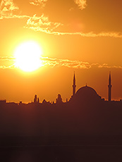 viewing the minarets and mosques at sunset, one of the things to do in Istanbul