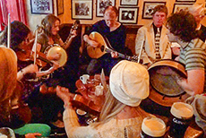 musicians in a pub in Europe