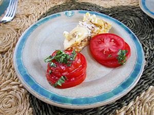 A plate with tomatoes on chees on it