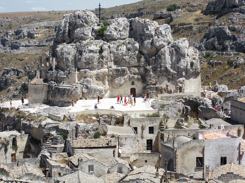 people in the Sassi in Matera