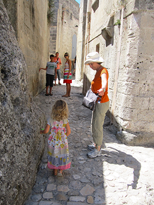A family in the Sassi in Matera