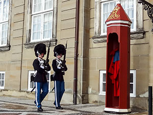Palace guards in old beaver hats in Copenhagen