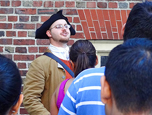 man dressed in Colonial costume in Boston