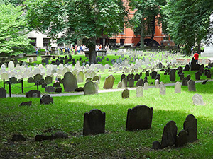 people in a cemetary along the Boston Freedom Trail