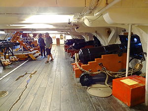 people below decl on an old ship in Boston