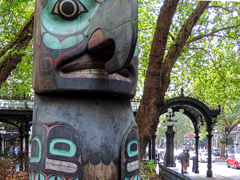 totem pole in Pioneer Square, one of the places to visit in Seattle