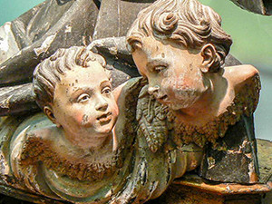 carved wooden angels in a museum in Irpinia