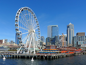 a Ferris wheel on the waterfront, one of the places to visit in Seattle